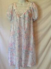 Vintage Gown Nightgown White with Blue Pink Floral Design Lace Trim Size 14 16