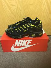Nike Air Max Plus Tuned 1 Tn Black Tour Yellow Dynamic Blue Size 8 Uk