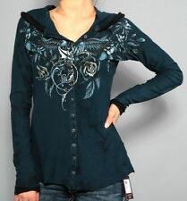 SINFUL BY AFFLICITION WOMENs LONG SLEEVE HOODIE BLUE DOVES SHIRT SMALL