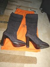 HERMES SIZE 36 US 6 SHOES SUEDE BOOTS WITH ZIPPER  ELEGANT DARK BROWN $2800