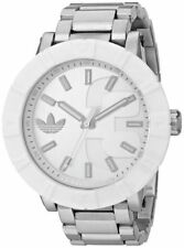 BRAND NEW ADIDAS ORIGINALS ADH3001 AMSTERDAM SILVER STEEL WHITE FACE MEN'S WATCH