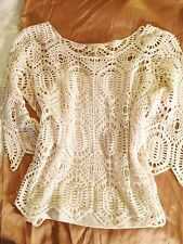 ANTHROPOLOGIE ADIVA IVORY CROCHET LACE 3/4 SLEEVE TOP W/ ATTACHED CAMI M