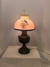 Vintage Brass & Glass Shade Early 1900's Kerosene Oil Lamp Converted to Electric