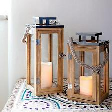 Vintage Wooden Candle Lantern Holder Battery LED Mood Light Home Patio Garden