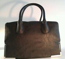H&M Black 100% Polyester Doctor's Style Handbag With Gold Bottom Trim
