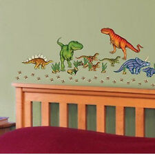 DINOSAURS wall stickers 58 decals JURASSIC WORLD eggs dino foot prints T-REX +
