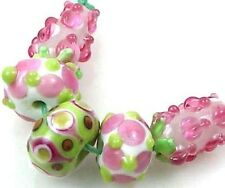 Lampwork Handmade Glass Pink  Floral & Hyacinth Beads