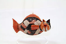 Whimsical Vintage CAT FISH Funny Christmas Ornament Handcarved Painted Resin ?