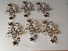 Gold Die Cut Butterfly & Flower Embellishments for card making etc.