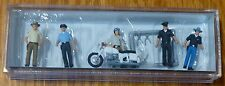 Preiser HO #10370 USA Police & Motorcycle -- 5 Officers, 1 Motorcycle