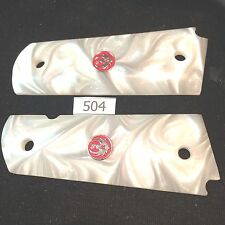 RUGER SR 1911 GRIPS ,SALE!,RED FACTORY MEDALLIONS,MOTHER OF PEARL FAUX,AMBI #504