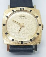 Great Vintage Mens 14k Yellow Gold Mid Century LeCoultre Leather Wrist Watch