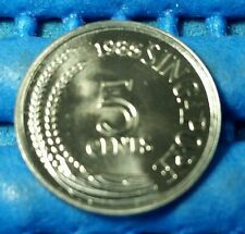 1985 Singapore 5 Cents Snake Bird Coin Uncirculated