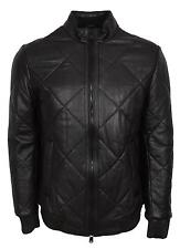 NEW BOSS Hugo Boss Men's $795 Black Quilted Lambskin Leather Biker Jacket 40R