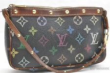 Auth Louis Vuitton Monogram Multicolor Pochette Accessoires Black Pouch LV 27095