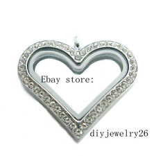 1pcs copy stainless steel Sparkle heart pendants Floating living Glass Locket