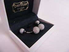 Penrose of London Designer Textured Circular Dumbell Silver Plate Cufflinks#CL17