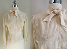 40s/50s Ivory Button Down Blouse Flowers Bow at Neck Clear Faceted Buttons Sz M