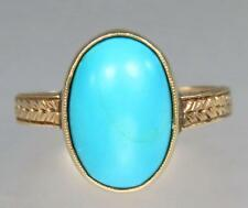 Stunning Antique Victorian 14K Ct Gold Turquoise Cabochon Floral Ring Size 5
