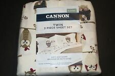 Cannon Flannel Sheet Set Neutral Owls pattern TWIN Size NWT