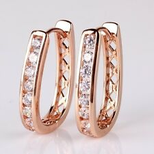Hot sell white Simulated Diamond 18K rose gold filled vogue journey hoop earring