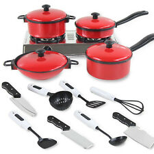 New Kids Play House Toy Kitchen Cooking Food Utensils Pans Pots Dishes Cookware