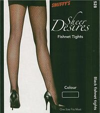 ADULT WOMENS FEMALE ONE SIZE REGULAR BLACK FISHNET TIGHTS  SHEER DESIRES