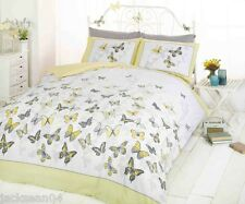 TRENDY FUNKY COTTON BUTTERFLY LEMON YELLOW KING SIZE DUVET SET QUILT COVER