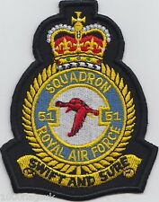 RAF no. 51 Squadron Royal Air Force Embroidered Crest Badge Patch MOD Approved