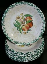 "6 Vintage HIMARK Spongeware Fruit Themed 10 1/4"" Dinner Plates Made in Italy"