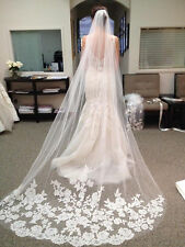 92v Elegant 3m Bridal Embroidered Lace Floral Design White Wedding Veil w Comb