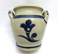 Vintage Williamsburg Pottery 2 Handle Blue Floral Salt Glazed Crock / Vase MINT