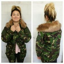 CAMOUFLAGE FUR JACKET - LIGHT FUR HOOD - VINTAGE FASHION - CAMO - WOMEN'S COAT