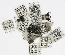 Necklace Clasp Silvertone Triple Strand Filigree Box Style Pack of 10