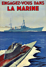 Art Ad Join the French Navy Submarine  Deco  Poster Print