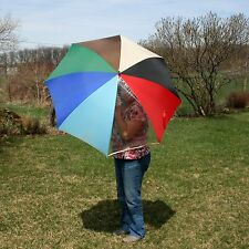 Vtg Large Oversize Colors Umbrella Parasol Wood Handle Shaft Clear Vinyl Window