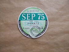 VINTAGE  TAX   DISC , SEPTEMBER  1975.