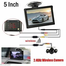 "Wireless IR Night Vision Rear View Back up Camera Kit+5"" HD Monitor for Car Suv"