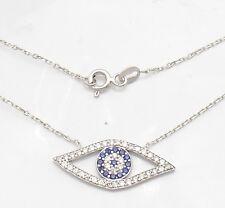 """Technibond Evil Eye Blue & Clear CZ Pendant Platinum Clad Silver 17"""" Cable Chain"""