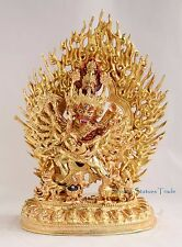 "Fine Quality Tibet 11.5"" Megh Sambara Gold Gilded Copper Statue from Patan Nepal"
