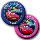 PERSONALISED DISNEY CARS BADGES/ MAGNETS/MIRRORS 58MM or 77MM