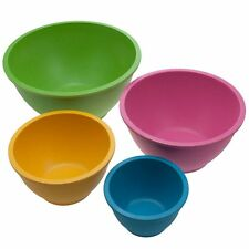 4pc Bamboo Mixing Serving Bowl Set Nesting Reusable Biodegradable Multi-Color