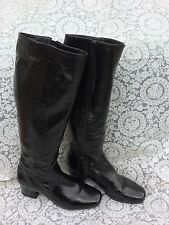 next black patent leather knee high boots, size uk 8