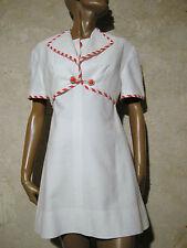 CHIC VINTAGE ROBE & BOLERO PIQUé COTON 1960 VTG DRESS SUIT 60s SIXTIES (36/38)