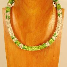 """18"""" Green Color Handmade Seed Bead Choker Rope Style Necklace"""