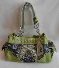 CAMOUFLAGE SHOULDER BAG Organizing Purse PAIR of STUDDED PISTOLS on the FRONT