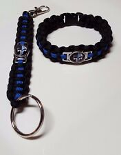 "Police TBL Punisher Paracord Bracelet & 5"" Deluxe Key Chain w/ Lobster Clasp Set"