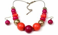 Coral Fushia Pink Gold Chunky Necklace & Earrings Set