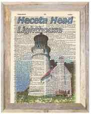 Heceta Head Lighthouse Oregon Altered Art Print Upcycled Vintage Dictionary Page