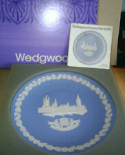 Wedgwood Jasperware Blue The Houses of Parliament Christmas Plate 1974 Boxed